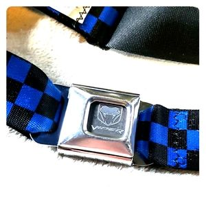 Checkered Blue and Black Seatbelt Belt